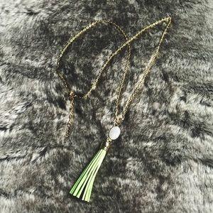 Gold Tassel Fringe Druzy Stone Pendant Necklace